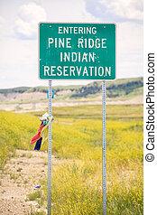 caballete, pino, señal, indio, entrar, reservación, camino