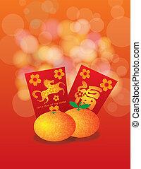 caballo, 2014, chino, paquetes, naranjas, plano de fondo, ...