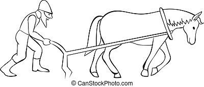 caballo, arado, plowman