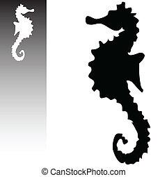 caballo, arte, ilustración, vector, mar, blanco