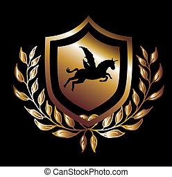 caballo, arte, protector, oro, vector, alas