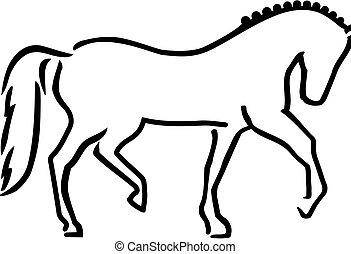 caballo, bosquejo, dressage, estilo