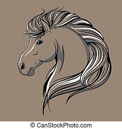 caballo, cabeza, bosquejo