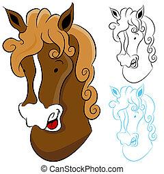 caballo, cabeza, dibujo