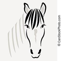 caballo, cabeza, retrato, logotipo, vector
