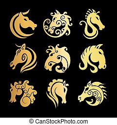 caballo, cabeza, vector, heráldico, iconos, conjunto