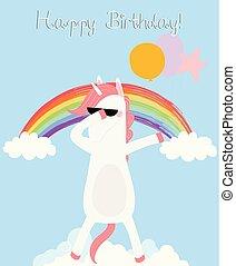 caballo, card., hacha, dabbing, cumpleaños, unicornio, feliz