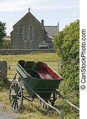 caballo, carruaje, iglesia