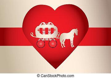 caballo, carruaje, para, boda, en, corazón rojo