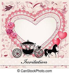 caballo, carruaje, tarjeta, valentino
