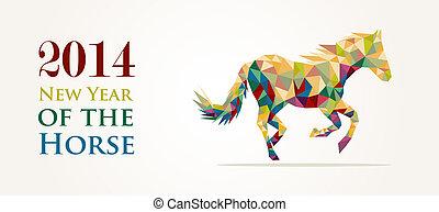 caballo, chino, ilustración, vector, año, nuevo, file.