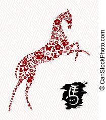 caballo, chino, símbolo, año, nuevo, composición