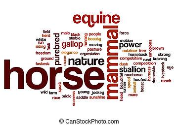 caballo, concepto, palabra, nube