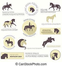 caballo, conjunto, etiqueta