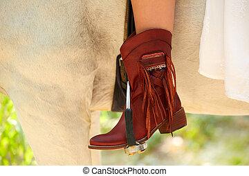 caballo, cuero, bota, jinete, hembra, casual