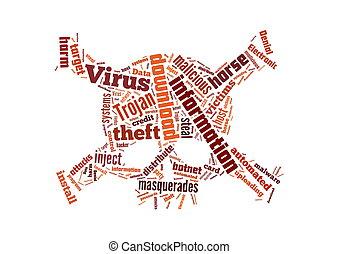 caballo de trojan, ilustración, virus, computadora, plano de fondo