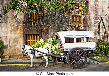 caballo dibujado, calesa, manila, -, filipinas