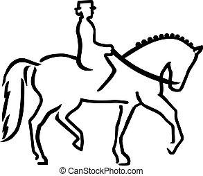 caballo, dressage, jinete, caligraphy