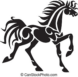 caballo, en, tribal, estilo, -, vector, illustration.