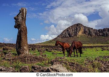 caballo, Estatuas, nui, isla, De, pascua, ISLA, rapa, Pascua...
