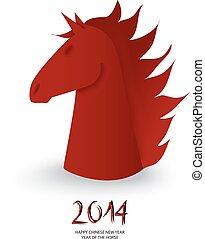 caballo, figura, ajedrez chino, vector., año, nuevo, rojo