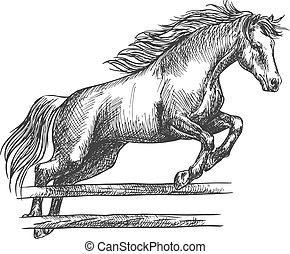 caballo, fuerte, encima, barrera, saltar