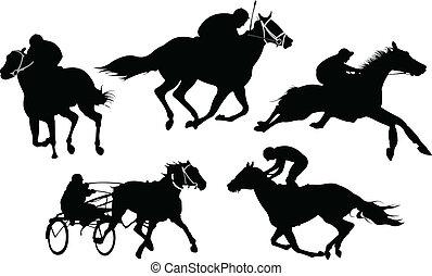 caballo, illustration., silhouettes., aislado, vector, carreras