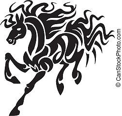 caballo, illustration., tribal, -, estilo, vector