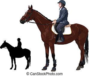 caballo, jinete, dama