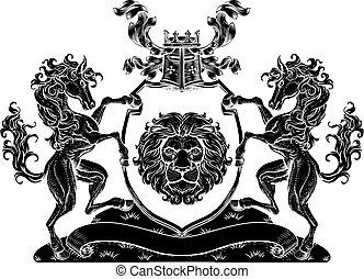 caballo, león, protector, cresta, chamarra, brazos, sello, ...
