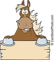 caballo marrón, blanco, encima, señal