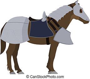caballo marrón, en, armadura