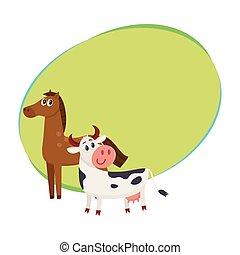 caballo marrón, vaca negra y blanca, con, ojos grandes