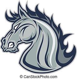 caballo, mascota, cabeza, mustang, o