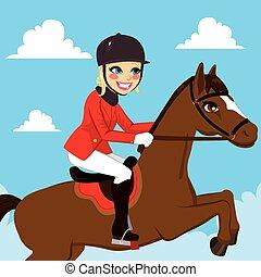 caballo, mujer, ecuestre, saltar