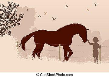 caballo, niña