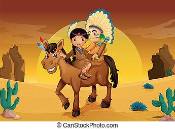 caballo, niños