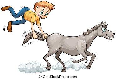 caballo, perseguir, hombre