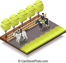caballo que cabalga, isométrico, composición
