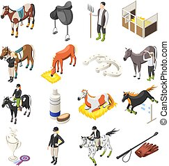 caballo que cabalga, isométrico, iconos, conjunto