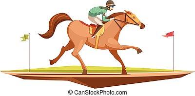 caballo que cabalga, retro, diseño, concepto