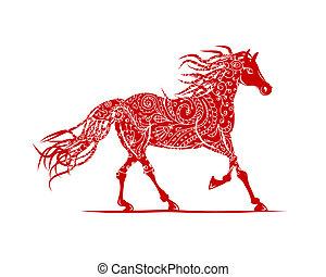caballo, símbolo, ornamento, año, floral, 2014, su, rojo,...