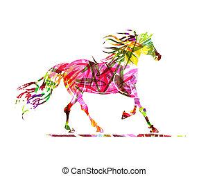 caballo, símbolo, ornamento, bosquejo, año, floral, 2014,...