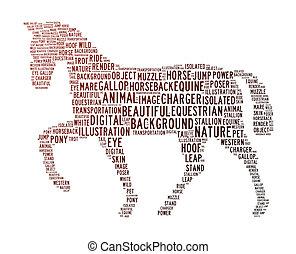 caballo, texto, nubes