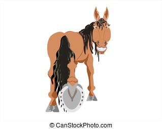 caballo, trasero, actuación, herradura