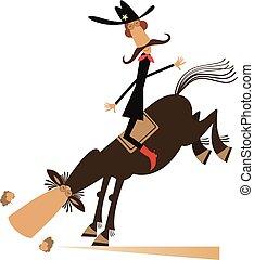 caballo, vaquero, aislado, ilustración, paseos, o, hombre