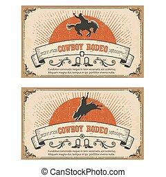 caballo, vaquero, aislado, salvaje, rodeo.vector, tarjetas, blanco