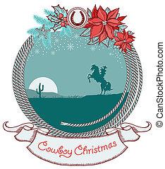 caballo, vaquero, norteamericano, plano de fondo, tarjeta de navidad