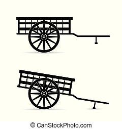 caballo, vector, carruaje, ilustración
