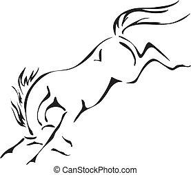 caballo, vector, corcovear, negro, blanco, contornos